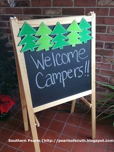 """Welcome Campers!"" (Welcome your little campers with a fun sign outside the door.)"