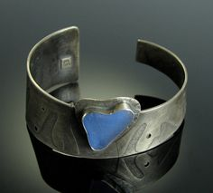 Sea Glass Sterling Silver Cuff Bracelet with by MonicaBranstrom