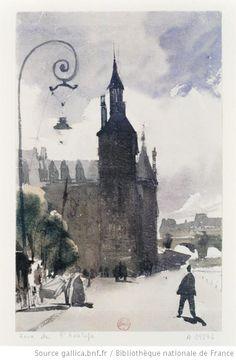 Palais de Justice, Tour de l'Horloge  Richard Parkes Bonington, c. 1820