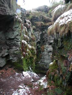 The entrance to the Green Chapel. Nobbut the crevice of an old crag, the most accursed church Gawain had ever seen. Staffordshire Uk, Green Knight, Grand Canyon, Places To Visit, Landscape, King Arthur, Knights, Travel, Celtic