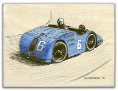 """This tank was made for a different kind of battle ... Bugatti Type 32 """"Tank"""", Grand Prix de France 1923 Pencil, pen&ink and markers on 6""""x 8"""" Birch Painting Panel (sanded) © Paul Chenard 2016 Original art available."""