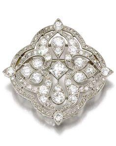 A Belle Epoque diamond brooch, Cartier, circa 1915. Pierced and millegrain-set with circular-, single-cut and rose diamonds, signed Cartier, numbered. #Cartier  #BelleÉpoque #brooch