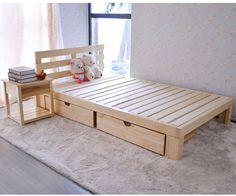 Repurposed Wooden Pallets Bed with Side Table: The ideas include recycling the used shipping wood pallets into your desired indoor or outdoor furniture or decor