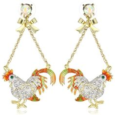 "Betsey Johnson ""Farmhouse"" Rooster Chandelier Earrings"