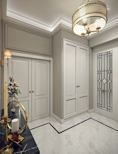 A luxurious entrance hallway of a modern classic villa interior by Comelite Architecture Structure and Interior Design, Carrara marble floor tiles with thin black border, gray walls and classic white paneled doors, elegant brass chandelier. Marble Flooring Design, Classic Interior Design, Modern Interior, Classic Living Room, Modern Classic Living Room, Interior Design Styles, Doors Interior Modern, Modern Classic Interior, Doors Interior