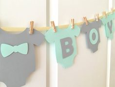 shower Bebe Banners - Mint and Gray Baby Shower Decoration. Baby Shower Menta, Baby Shower Verde, Bebe Shower, Fiesta Baby Shower, Baby Shower Themes, Baby Boy Shower, Shower Ideas, Baby Boys, Shower Banners