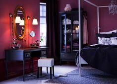 sweet shawna on walls? navy furniture   ---  dark bedroom