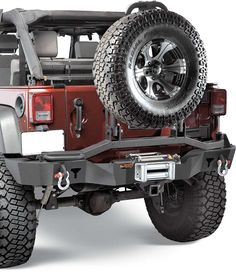 The new Olympic 4x4 Rear Bumper with Tire Swing, Swings Out & FOLDS DOWN!  Featuring a built-in Hi-Lift Jack points & D-Ring Mounts.  Also featuring a built-In Rear Winch Mount Plate.