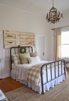 Farmhouse Bedroom - salvaged architectural pieces and mismatched ...