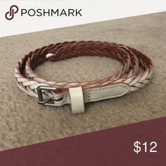 "White braided belt Skinny white braided leather belt. Belt is 3/4"" wide. American Eagle Outfitters Accessories Belts"