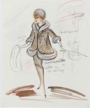 "Edith Head (3) original costume sketches of Lucille Ball as ""Angela Ballantine"" in Critic's Choice."