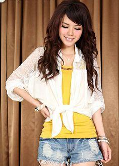 Sexy Turndown Collar Long Sleeve Pierced Lace Shirt White   martofchina.com
