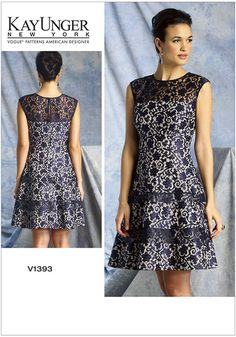 MISSES' DRESS: Lined,underlined dress has continuous bias for neckline, armholes and yoke back opening, fitted bodice, midriff, tiers forming skirt, invisible back zipper and hook & eye. FABRICS: Lace, Point d'esprit, Chiffon. Underlining: Crepe Back Satin.