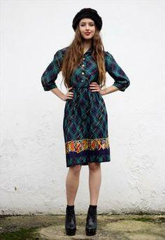 #Vintage #Tartan Pleated Midi #Dress Size UK 10 #asosmarketplace