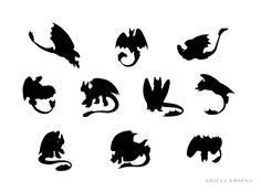 toothless silhouette | Toothless Silhouettes by AriellaMay