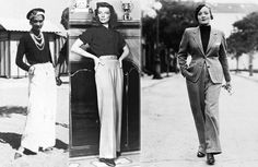Wide-leg trousers, or slacks, became popular for women in the 1930s. They were often times seen on movie stars- here they are seen on Coco Chanel, Katharine Hepburn and Marlene Dietrich.