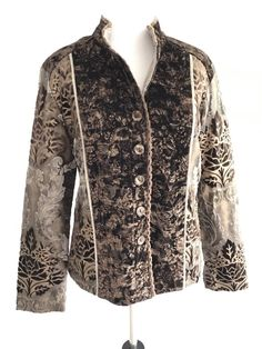 New Chicos Size 0 Floral Jacket Fitted Button Down High Neck Embellished Brown #Chicos #shopping #style