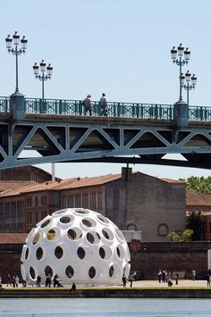 """Buckminster Fuller's 1965 Fly's Eye Dome—which he called an """"autonomous dwelling machine""""—on display at the International Festival of Art in Toulouse, France, in 2013"""