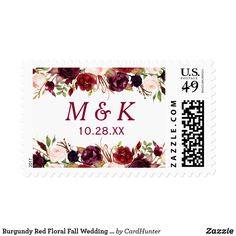 Burgundy Red Floral Fall Wedding Monogram Postage