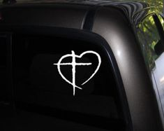 Christian Cross in Heart, Christian decal, Christian sticker Window Decal - Car Decal -Truck Decal - Bumper sticker-  FREE SHIPPING!