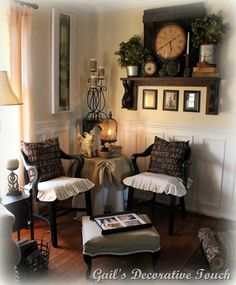 Such an inviting, deeply lovely reading corner. #Victorian #vintage #antique #classic #home #decor #reading #corner #chairs #furniture
