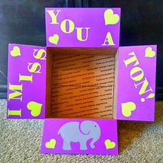 Check out this item in my Etsy shop https://www.etsy.com/listing/260799056/care-package-box-kit-i-miss-you-a-ton