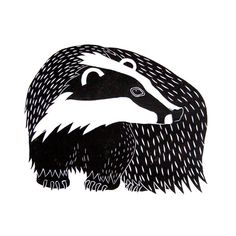 This Inuit inspired print of a Badger is part of an edition of 35. It has been printed from a block of