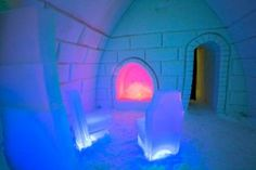 Icy fire place in Arctic Snowhotel in Rovaniemi in Lapland - Arctic Snowhotel & Glass Igloos Rovaniemi Spas, I Want To Travel, Arctic, Photo Galleries, Neon Signs, Fire, Photo And Video, Places, Wanderlust