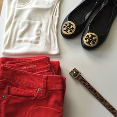 LOFT cords HP LOFT modern straight cords. Bright red color. Perfect for spring!! LOFT Pants Straight Leg