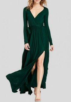 aac30bd8b8 Dark Green Irregular Sashes Draped Deep V-neck Front Slit Elegant Party Maxi  Dress