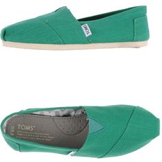 Toms Sneakers ($85) ❤ liked on Polyvore featuring shoes, sneakers, green, green sneakers, toms footwear, toms sneakers, square toe shoes and green flat shoes