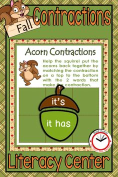 COLLECTING ACORNS CONTRACTIONS LITERACY CENTER asks your students to manipulate acorn tops and bottoms to match common contractions with their component parts. It's the perfect fall activity for your literacy block!  #contractions #literacycenter #contractionsactivity #firstgrade #secondgrade #thirdgrade