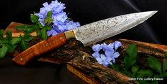 160mm small chef knife with koa wood and brass bolster. Handforged stainless damascus Handmade all the way! www.SalterFineCutlery.com