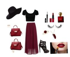 """""""Maroon&black"""" by sweetlove13 ❤ liked on Polyvore featuring Gucci, Dorothy Perkins, Kenneth Jay Lane, BeiBaoBao, Lord & Berry, Rimmel, Rimini and Ralph Lauren"""