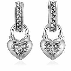 #ScottKay, Heart Charmed Earring, diamond, Ladies Fashion : Earrings, E1063SPADM