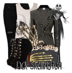 """Jack Skellington"" by the-gurl-on-fire ❤ liked on Polyvore featuring MANGO, Bernard Delettrez, Armani Collezioni and Burton"