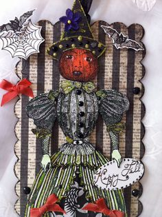 Halloween Witch Paper Doll Pumpkin Mixed Media Art by ParisPluie, $17.00