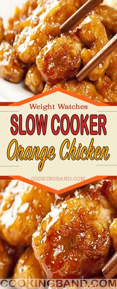 This slow cooker orange chicken is breaded chunks of chicken tossed in a sweet and savory Asian sauce and cooked in the crock pot. A take out copycat that's perfect for a busy weeknight! Poulet Weight Watchers, Plats Weight Watchers, Weight Watchers Diet, Weight Watchers Chicken, Weight Watchers Orange Chicken Recipe, Healthy Crockpot Recipes, Ww Recipes, Cooking Recipes, Weight Watcher Crockpot Recipes