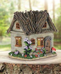 Another great find on #zulily! Twig-Roof Cottage Solar Light-Up Garden Décor #zulilyfinds