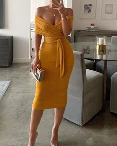 Solid Yellow Off Shoulder Wrap Dress Women Ruched Designed Sashes Midi Dress Slim Fit Sexy Party Dresses Robe Femme, Yellow / XL Mode Outfits, Dress Outfits, Fashion Dresses, Wrap Dress Outfit, Wrap Dress Midi, Fitted Midi Dress, Fashion Blouses, Jeans Fashion, Swag Dress