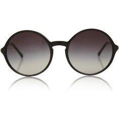 Chanel Black Round Gradient Sunglasses found on Polyvore