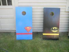 Superman and Batman Cornhole boards  check out MCB @ www.facebook.com/MckinnonCornholeBoards