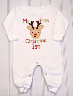 ebcb5920c9f6 Baby s First Christmas apparal Graphics Baby Romper