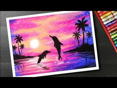 How to draw scenery of pink Sunset with oil pastels - YouTube