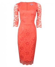 The Pretty Dress Company Womens Coral Lace 3-4 Sleeved Pencil Dress midi knee length long sleeve