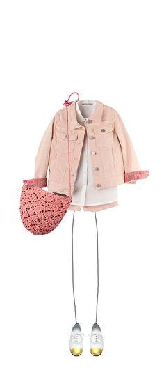 Near jacket Powder pink Amanda shirt Milk White Alexia shorts Powder pink Cocoon basket Blush Pink Bourg Derby shoes Gold