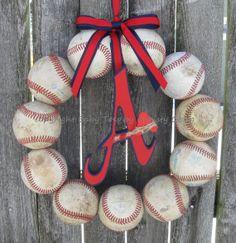 The Original Atlanta Braves Baseball Wreath by BabyToesbyChristy, $59.00