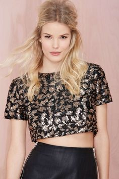 Motel Tinsel Tabby Sequin Crop Top | Shop What's New at Nasty Gal