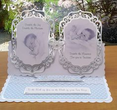 Ornate handmade New baby card for Twin Boys by Paperkreationz, £3.99