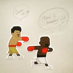 Time is running out ^^ #pacquiao #mayweather #timeisrunningout #damn #pictogram #design #character #characterdesign #graphic #graphicdesign #stickers #meanimize #artwork